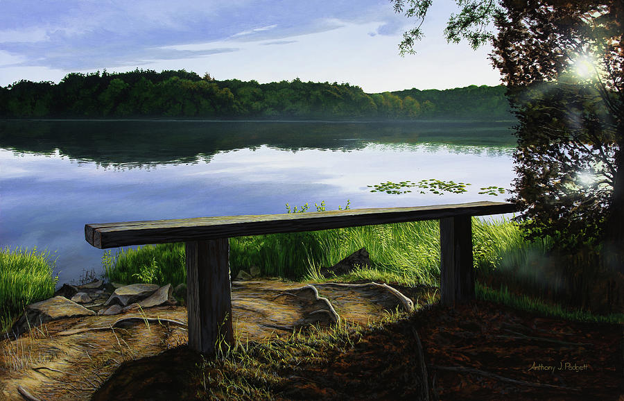 Landscape Painting - A Bench To Ponder by Anthony J Padgett