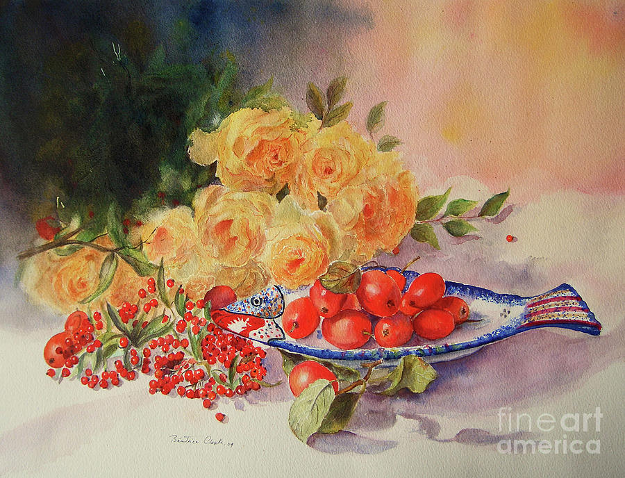 A Berry or Two, watercolour still life by Beatrice Cloake
