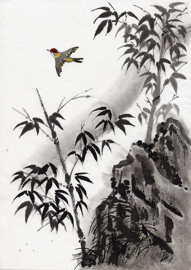 A Bird And Bamboo Leaves, Ink Painting Digital Art by Daj
