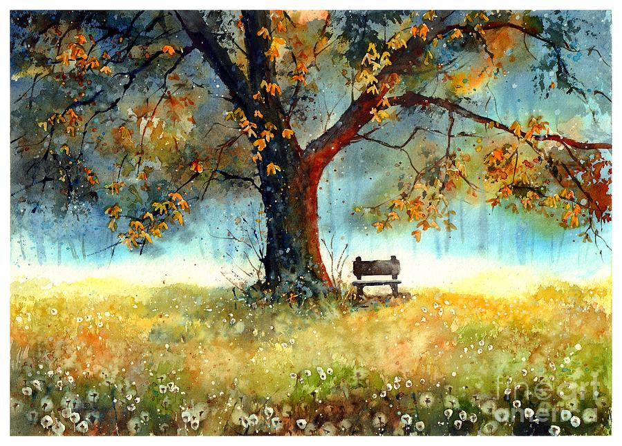 Bench Painting - A Bit Of Nostalgia by Suzann Sines