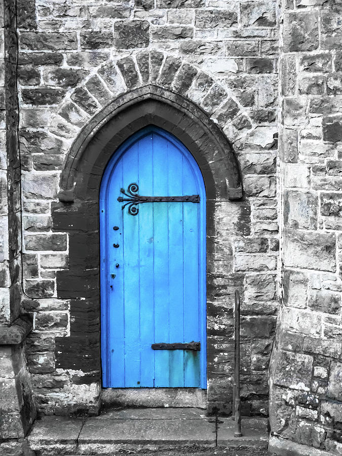 A blue church door Penzance Cornwall  by RW Jemmett