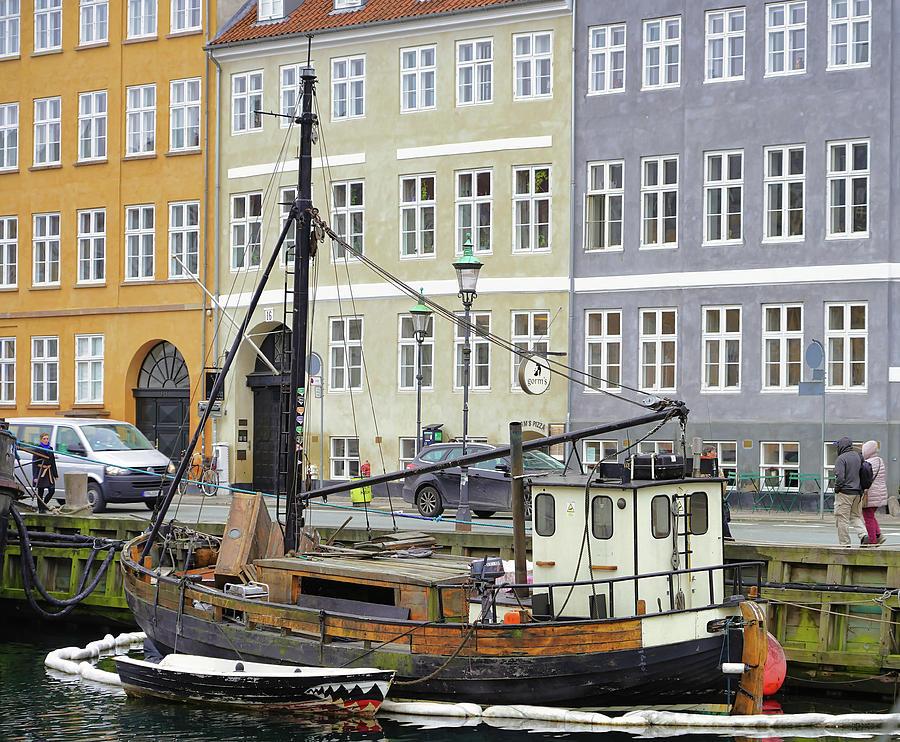 A Boat On A Canal In Copenhagen Denmark by Richard Rosenshein