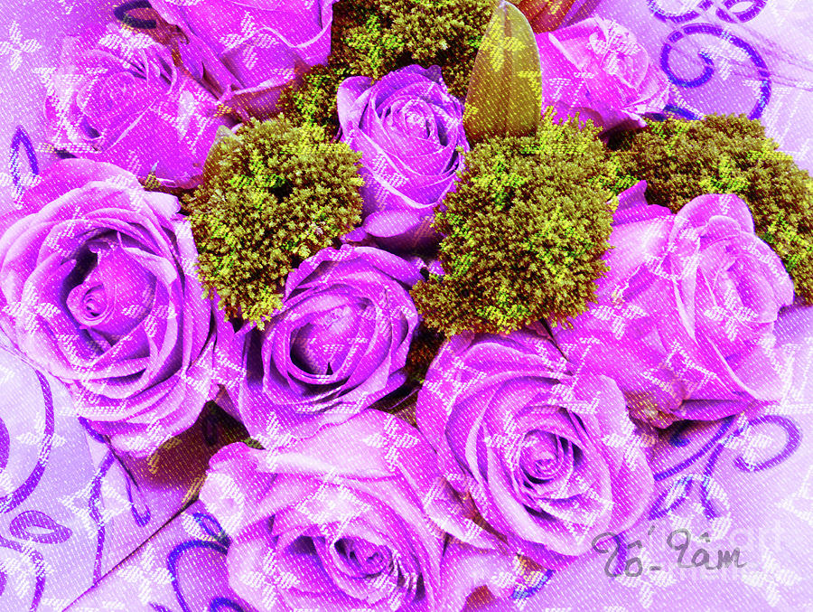 Louis Vuitton Digital Art - Lv With Lilac Roses  by To-Tam Gerwe