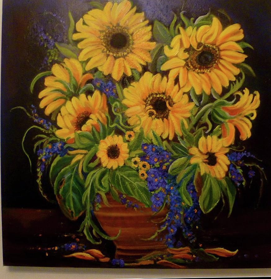 Still Life Painting - A bouquet of Sunflowers by Janet Silkoff