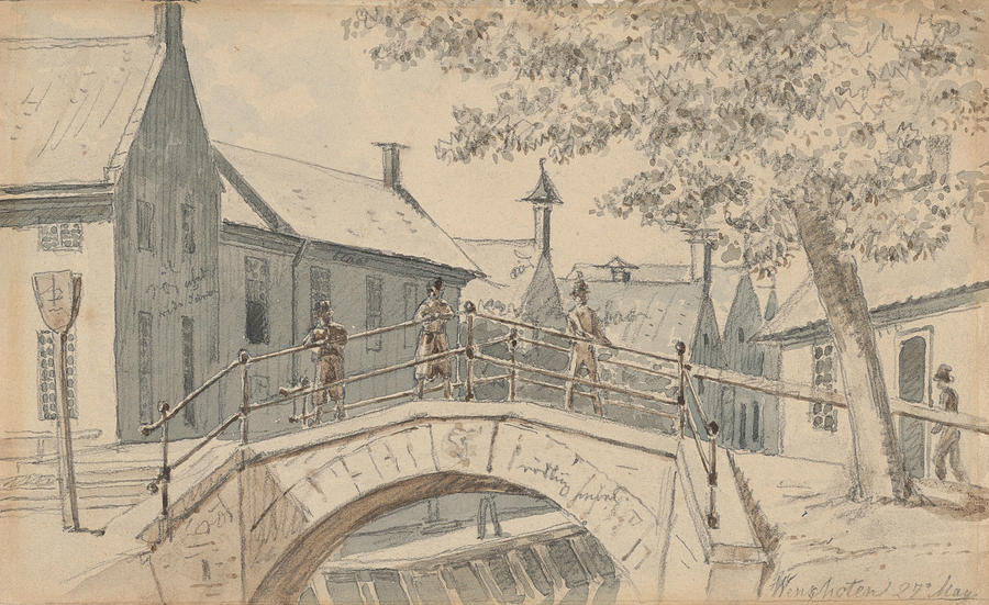 A Bridge over a Canal in Winschoten by Martinus Rorbye