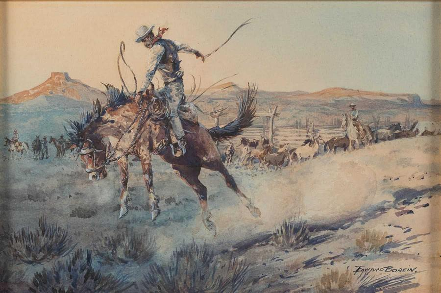 Bronco Painting - A Bucking Bronco, Edward Borein by Celestial Images