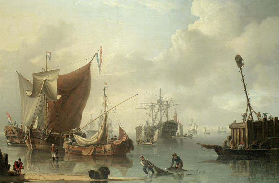 Powell Painting - A Busy Harbour Scene With Dutch And British Shipping by Charles Martin Powell