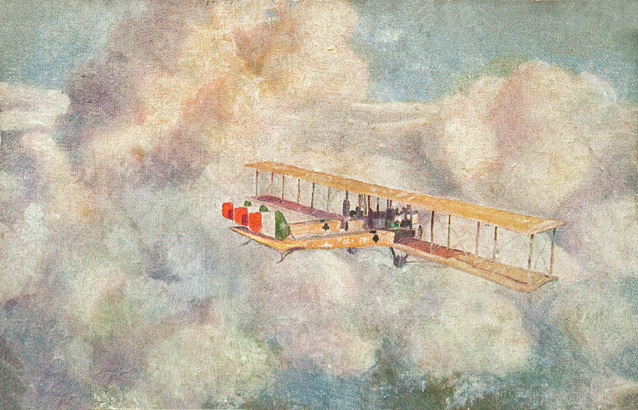 Fine Art America Painting Wwi Bipalne In The Clouds