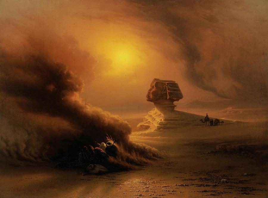 Caravan Painting - A Caravan Surprised by the Samoom in front of the Sphinx, 1849 by Johann Jakob Frey