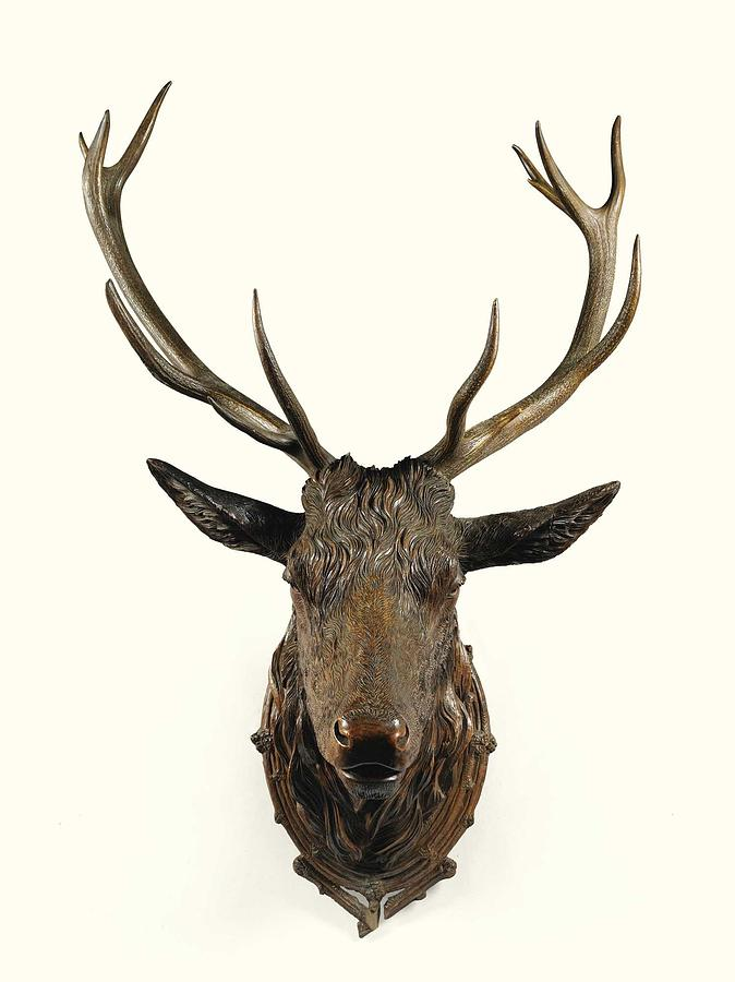 Deer Painting - A Carved Wooden Red Deer Trophy With Red Deer Antlers, 19th Century by Celestial Images