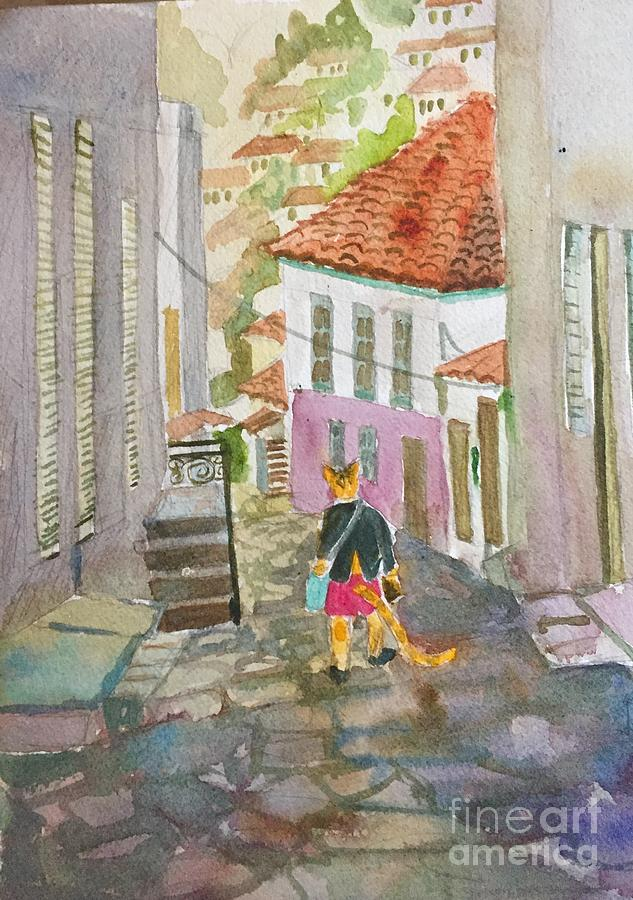 A Cat Takes a Walk in Hydra by Diane Renchler