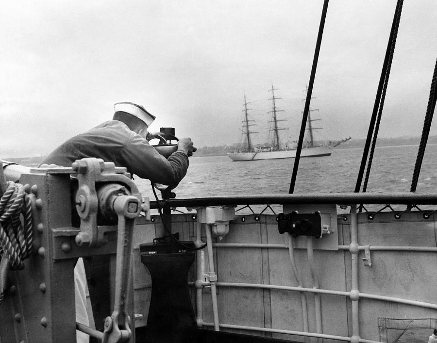 A Coast Guard Cadet Takes A Sighting Of Photograph by New York Daily News Archive