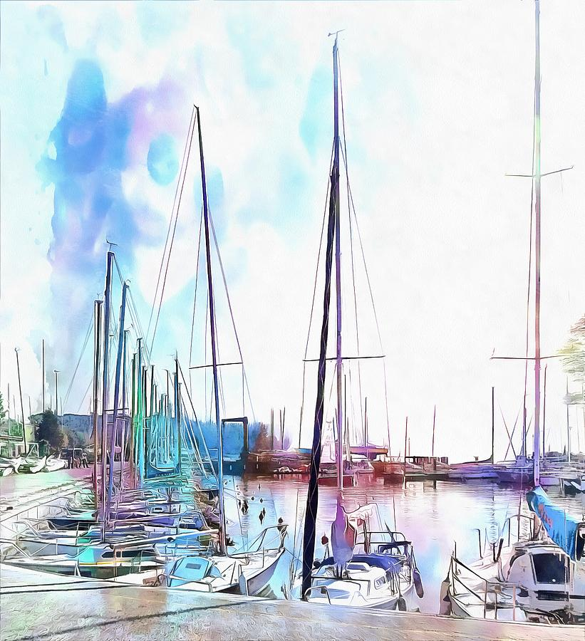 A Color Wash Of Boats by Dorothy Berry-Lound