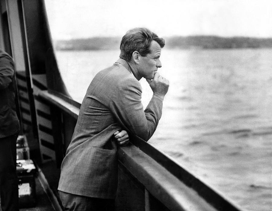 A Contemplative Robert F. Kennedy Leans Photograph by New York Daily News Archive