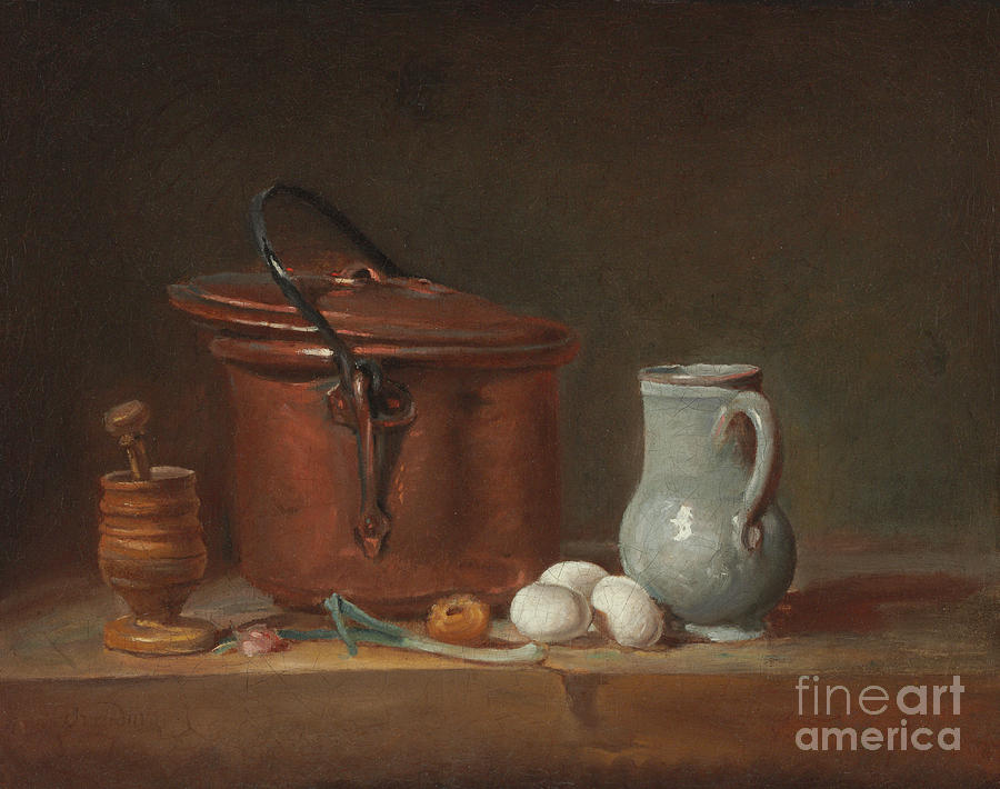 A Pitcher Painting - A Copper Saucepan, A Pestle And Mortar, A Pitcher, A Scallion, Eggs And An Onion On A Shelf  by Jean-Baptiste Simeon Chardin