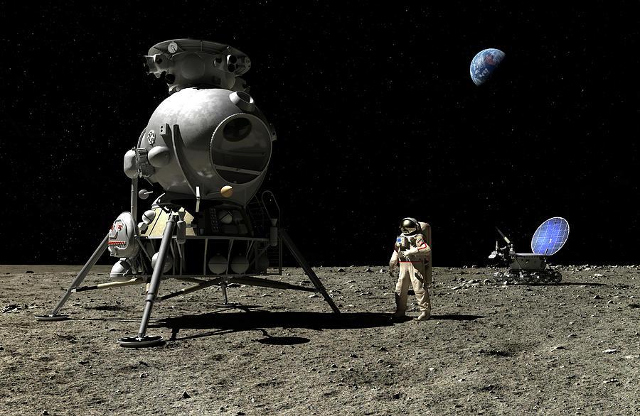 Cosmonaut Digital Art - A Cosmonaut On The Moon by Nick Stevens