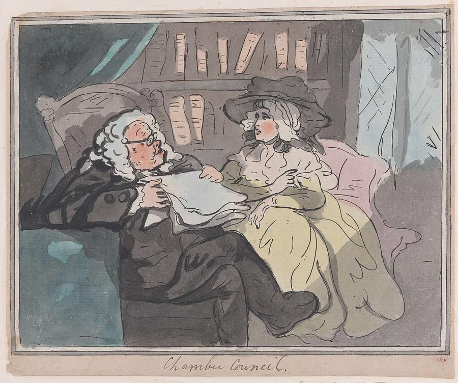 Nature Painting - A Counselors Opinion After He Had Retired From Practice After Thomas Rowlandson British, London 17 by Thomas Rowlandson