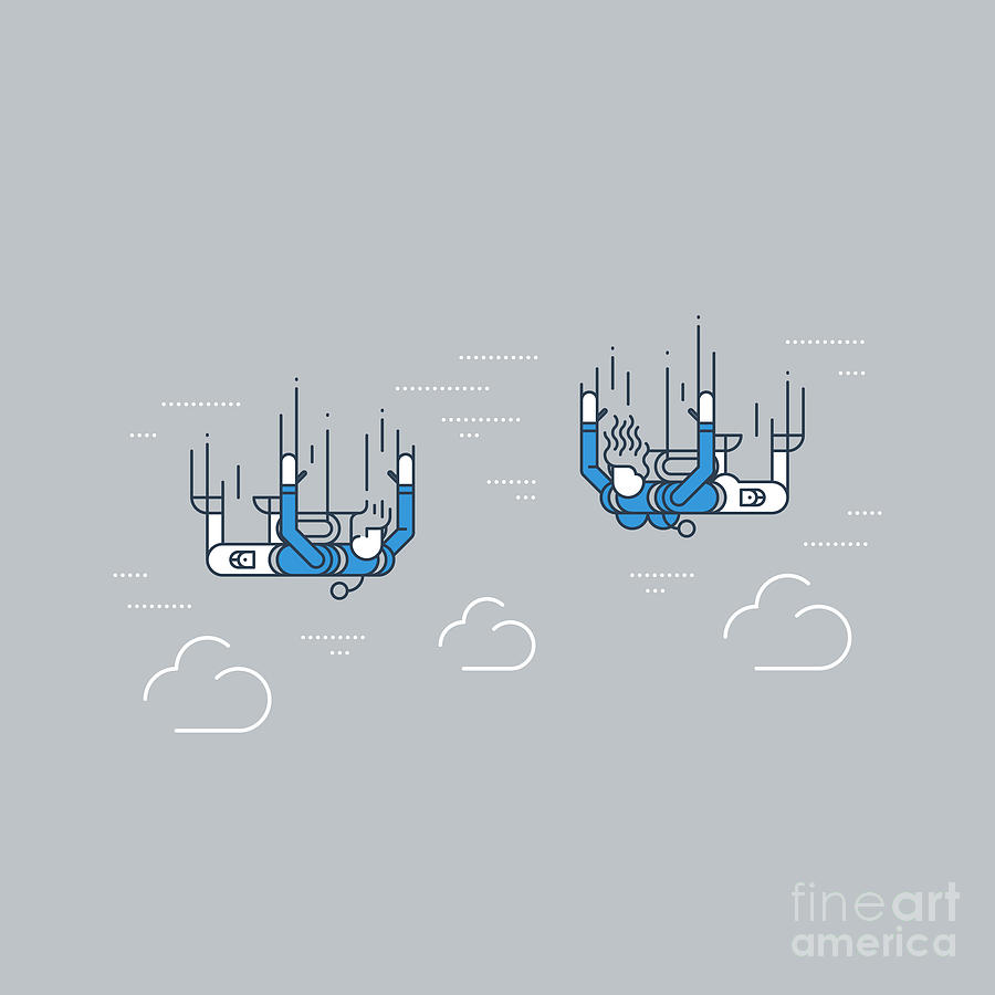 Couple Digital Art - A Couple Of Skydivers. Extreme Sport by Stmool