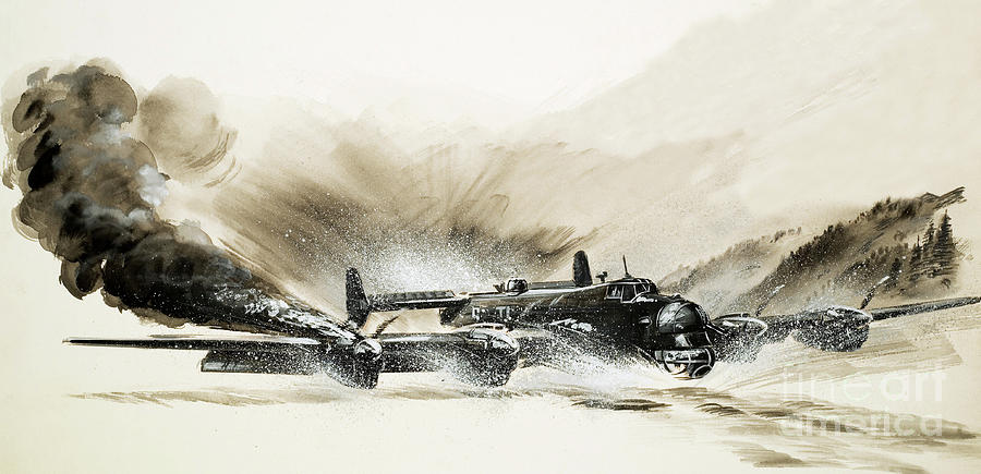 Plane Painting - A Crippled Halifax Bomber Lands On The Ice by English School