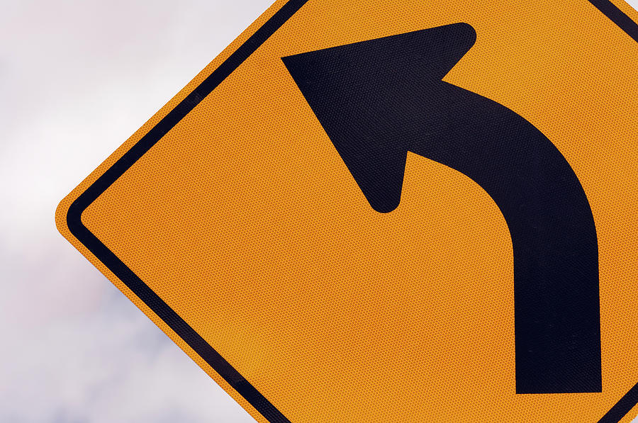 A Curve Ahead Road Sign Warning Photograph by Martin Ruegner