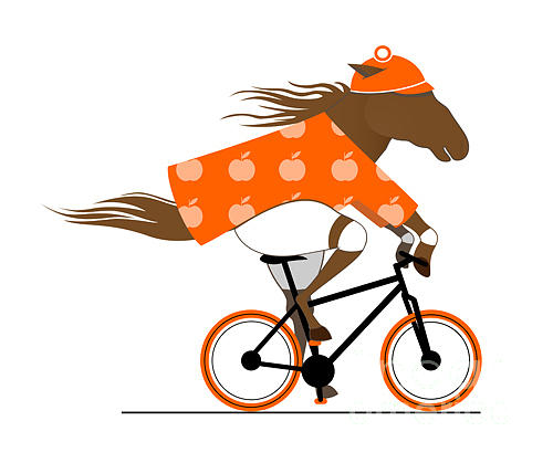Activity Digital Art - A Dappled Horse Riding A Bicycle. Cycle by Popmarleo