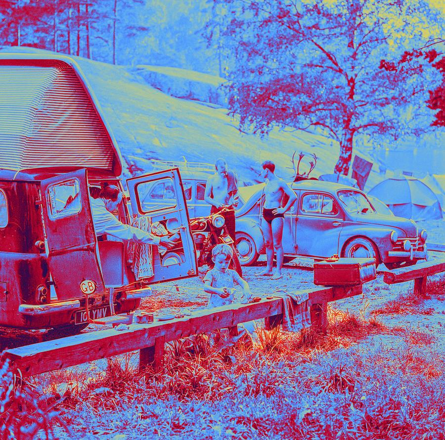 Nature Painting - A Day At The Lauttasaari Camping Ground In Helsinki In 1960.  By Volker Von Bohlen Neon Art By Ahmet by Ahmet Asar