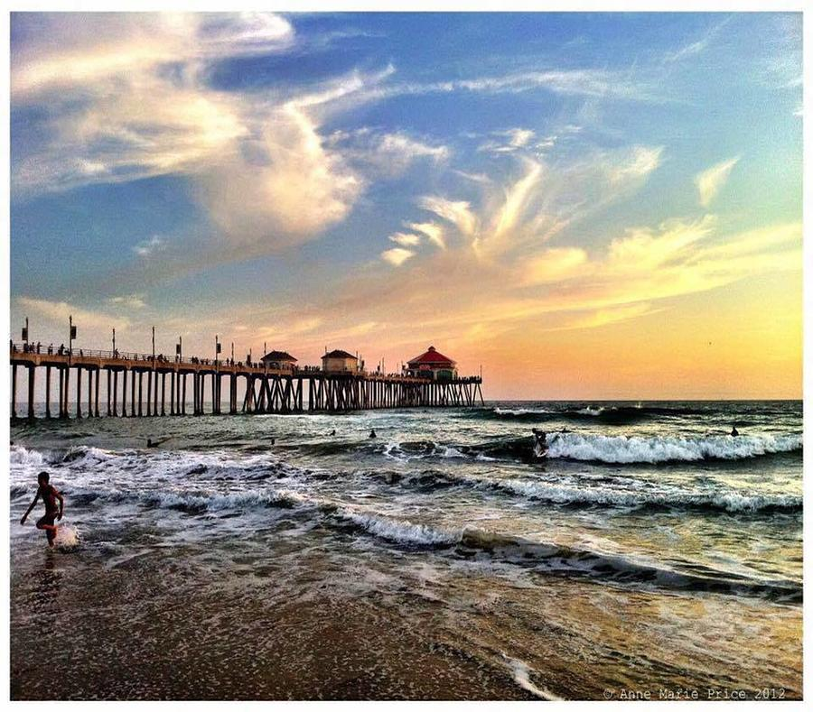 Sunset Photograph - a Day in Huntington Beach  by Anne Marie Price