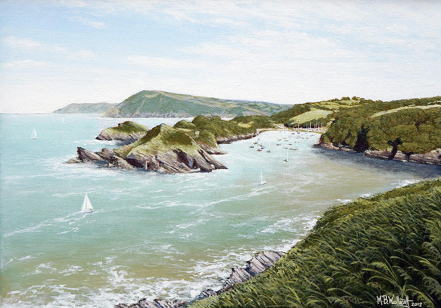 Boats Painting - A Day Of Fine Sailing At Watermouth Cove by Mark Woollacott