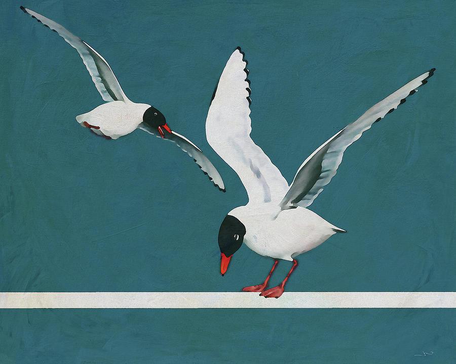 A Departing Black Headed Seagull by Jan Keteleer
