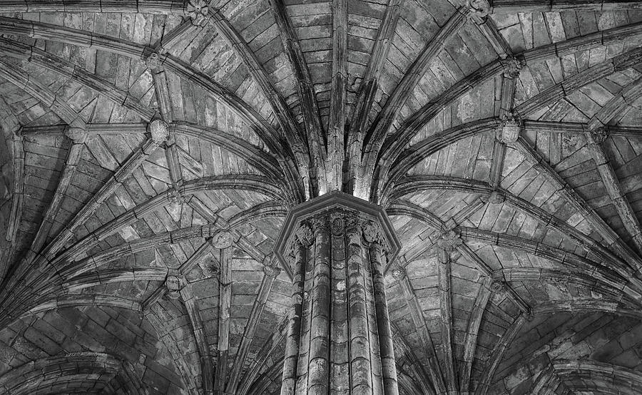 A Detailed Ceiling at Elgin Cathedral by Dave Mills