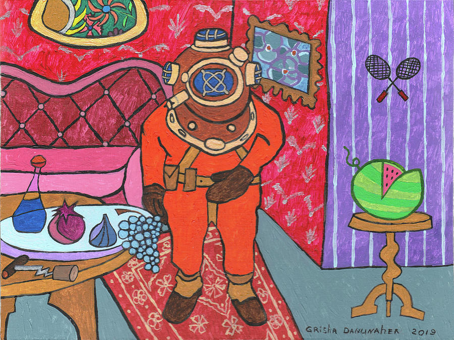 Colored Painting - A Diver Comes To Visit. by Grisha Danunaher