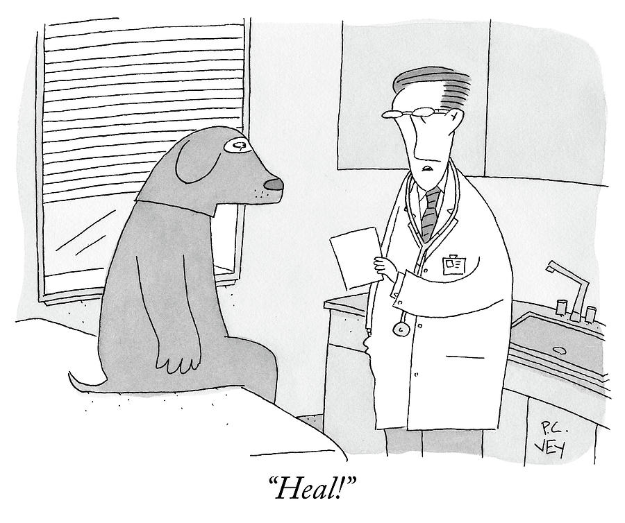 A Doctor Speaks To A Man In A Dog Costume Who Drawing by Peter C Vey