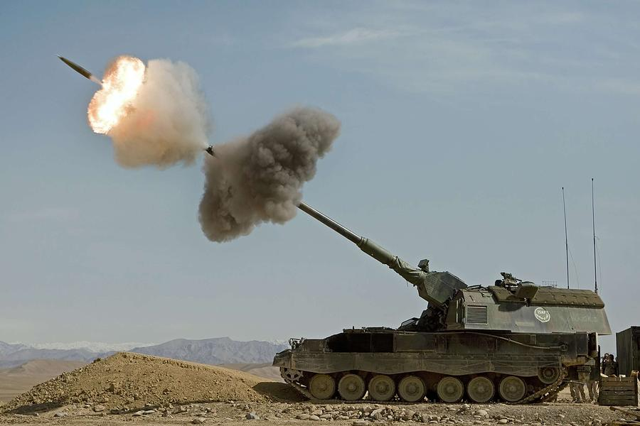 Afghanistan Painting - A Dutch Panzerhaubitze 2000 Fires A Round In Afghanistan by Celestial Images