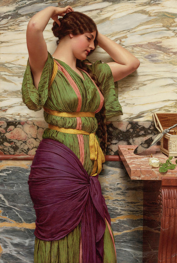 John William Godward Painting - A Fair Reflection, 19th Century by John William Godward