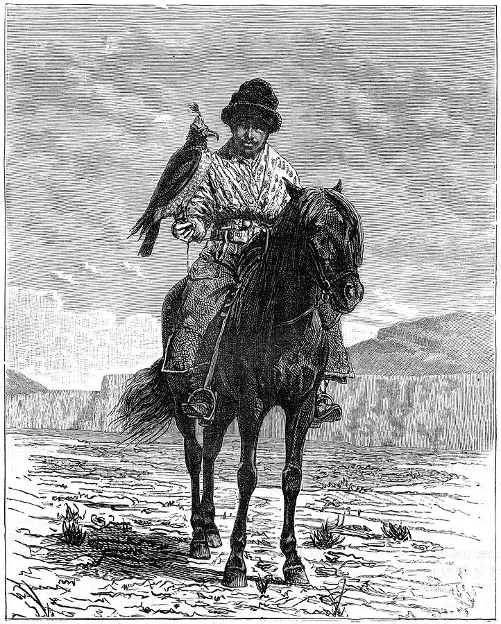 A Falconer, Turkestan, 19th Drawing by Print Collector