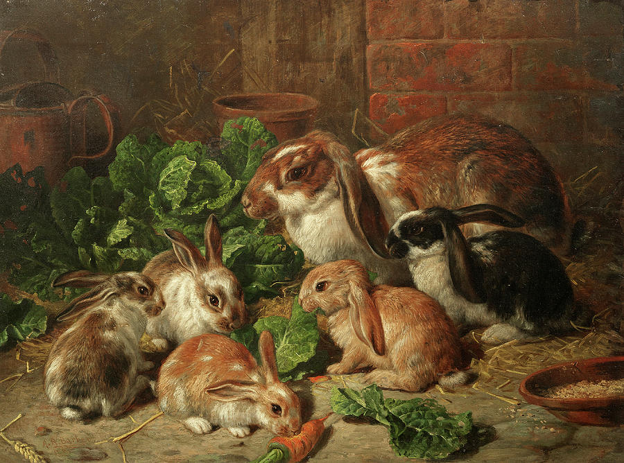 Mother Rabbit Painting - A Family Of Rabbits by Alfred Richardson Barber