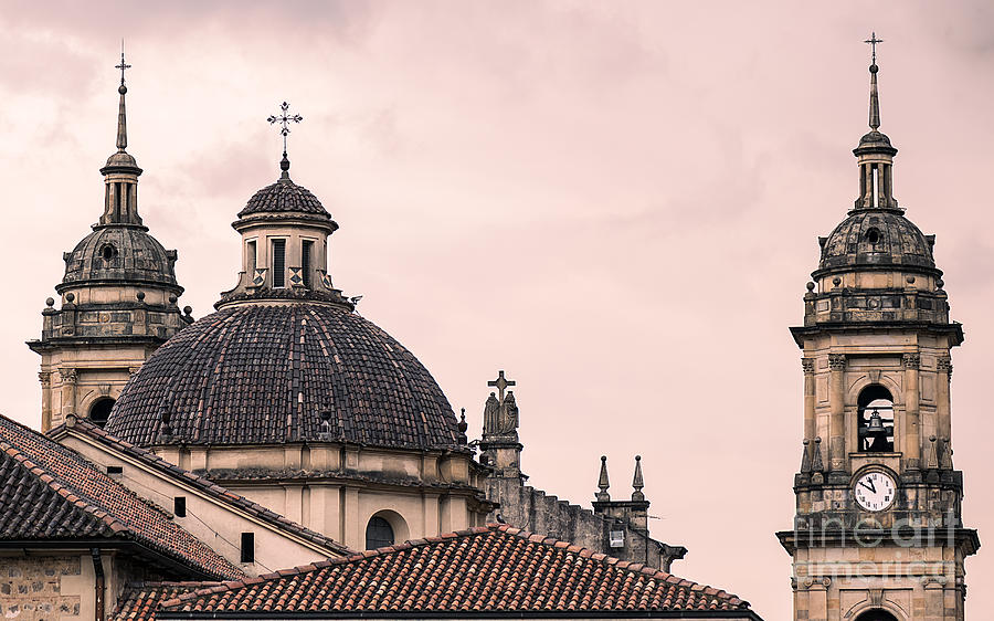 Capital Photograph - A Famous Cathedral In Bogota, Colombia by David Antonio Lopez Moya