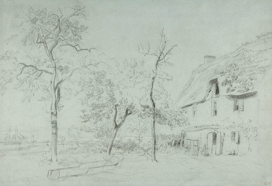 A Farmhouse with a Thatched Roof and Trees Beside a River by Constant Troyon