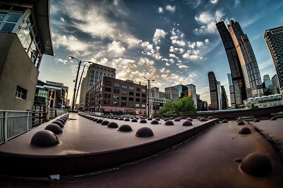 A fisheye view of the Chicago river bridge by Sven Brogren