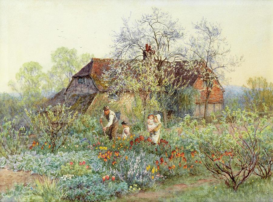 Gardener Painting - A gardener in a cottage garden by Helen Allingham