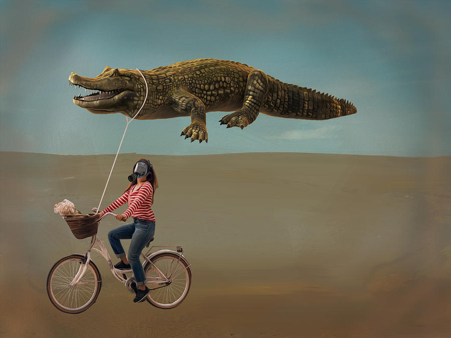 A Girl With Flying Crocodile Digital Art