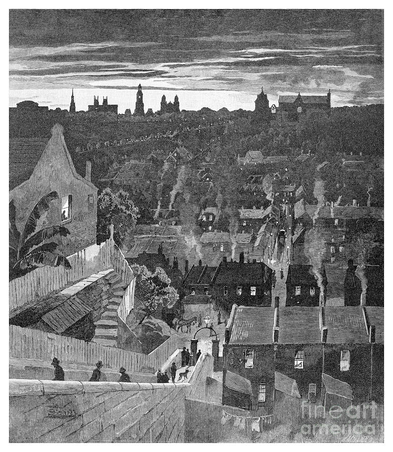 A Glimpse Of Sydney From Darlinghurst Drawing by Print Collector