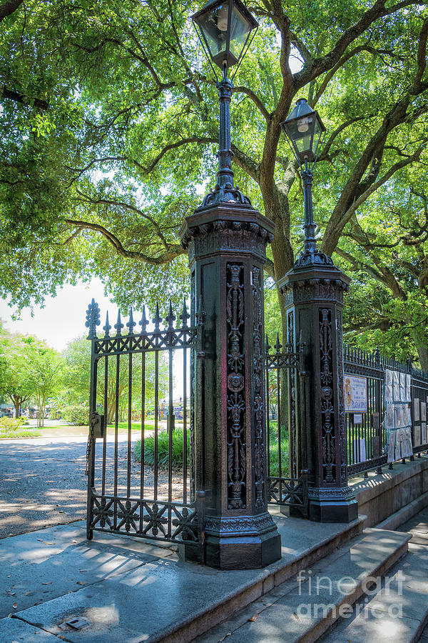 A Glimpse of the Gates of Jackson Square New Orleans by Kathleen K Parker