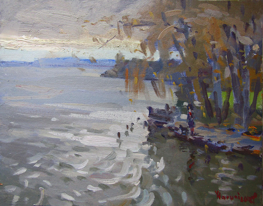 Fall Painting - A Gray Fall Day At Fishermans Park by Ylli Haruni