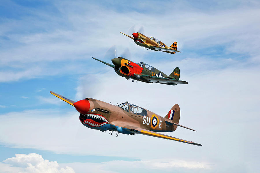 A Group Of P-40 Warhawks Fly In Photograph by Scott Germain/stocktrek Images