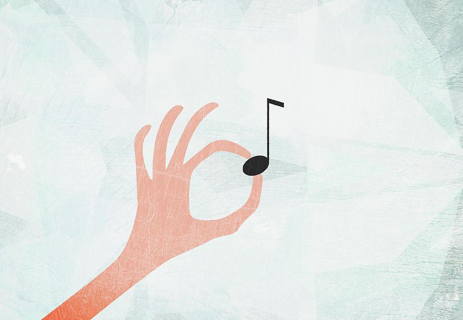A Hand Holding A Musical Note Digital Art by Jutta Kuss