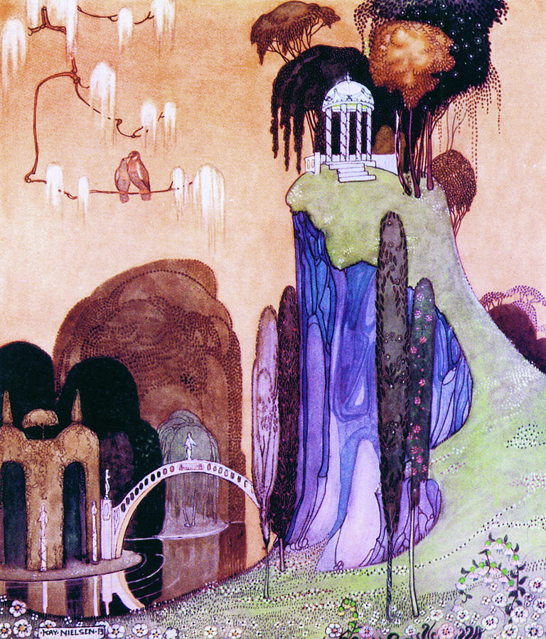 Birds Painting - A Hilltop Landscape With A Drum Bridge And A Greek-style Awning by Kay Nielsen