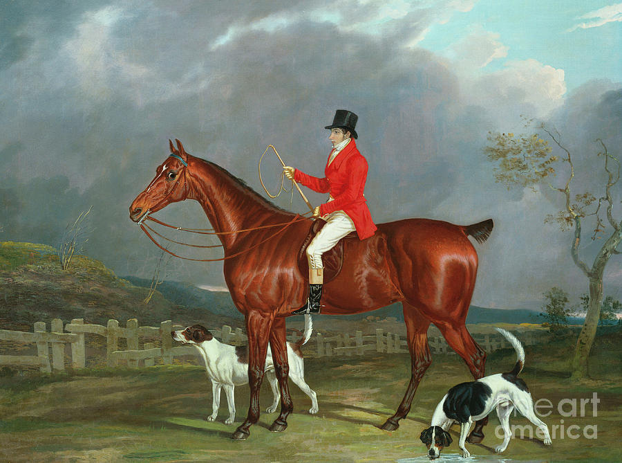 1824 Painting - A Huntsman And Hounds, 1824  by David of York Dalby