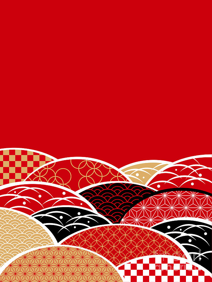 Plum Digital Art - A Japanese Style Background Of Japan by Rie Sakae