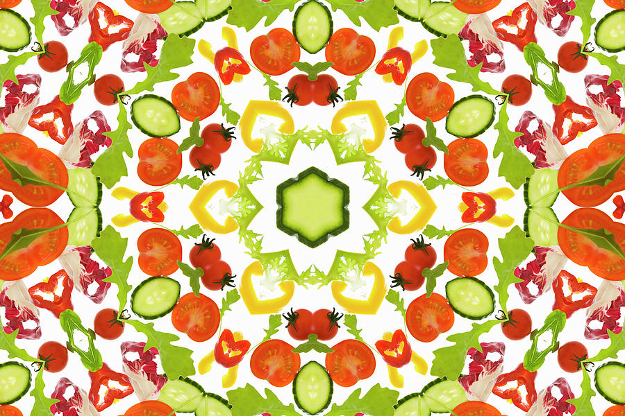 A Kaleidoscope Image Of Salad Vegetables Photograph by Andrew Bret Wallis